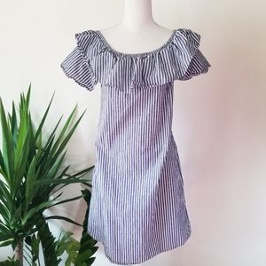 Potter's Pot Navy Chambray Striped Ruffle Dress L